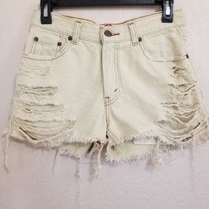 Levi's 550 Distressed Cut Off Denim Shorts Size 27